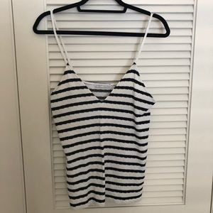 Zara - navy/white striped tank top
